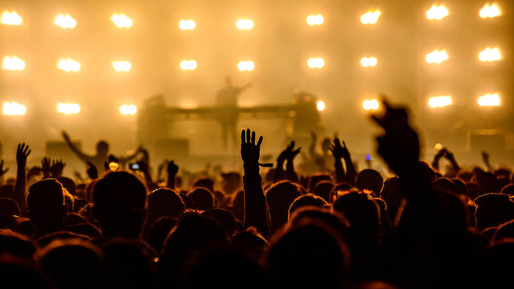 Silhouette of people standing in a crowd with hands up, backlit by rows of