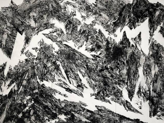 ≪Underneath≫ h2500 x w 3900mm 和紙、岩絵具、 墨