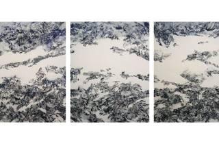 《Consist》 2021 / 各220×173cm / 和紙、岩絵具、墨