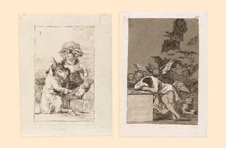 Two sepia sketches side by side. One features donkeys acting as doctors for a man in bed, the other features a woman crying over a table while dark owls and bats swarm her