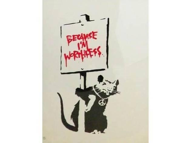 Banksy「Because I'm worthless(red)」 シルクスクリーン 50×35cm