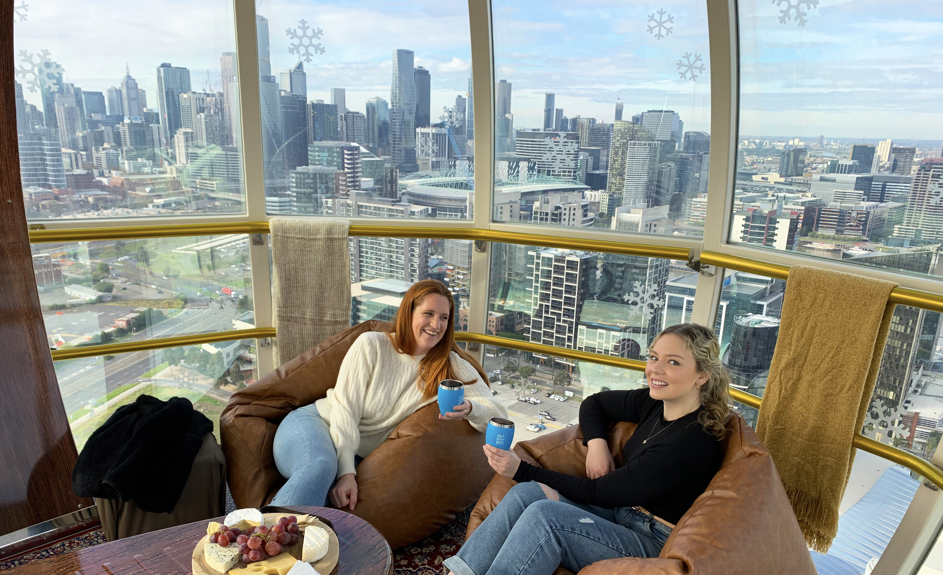 Two people on beanbags on Melbourne Star