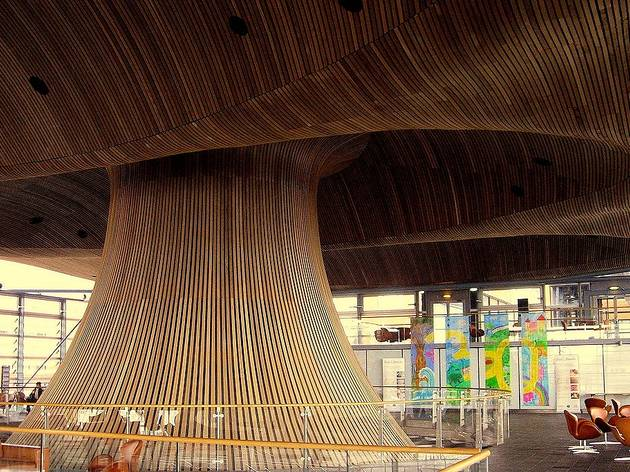 The curious architecture of the Senedd building in Cardiff, Wales