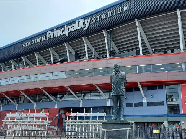 Sir Tasker Watkins stands outside the mecca of Welsh sport