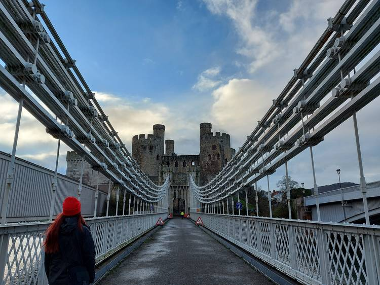 Pay the toll at Conwy Suspension Bridge