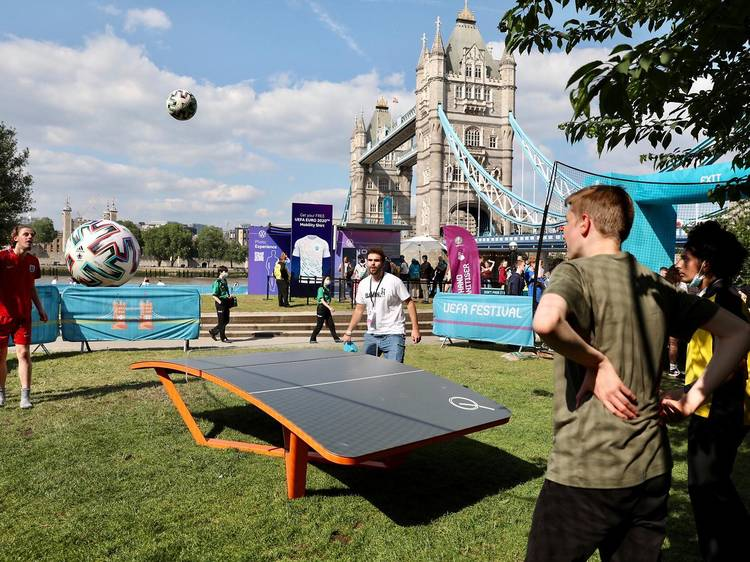 There's a Euro 2020 'Football Village' next to Tower Bridge