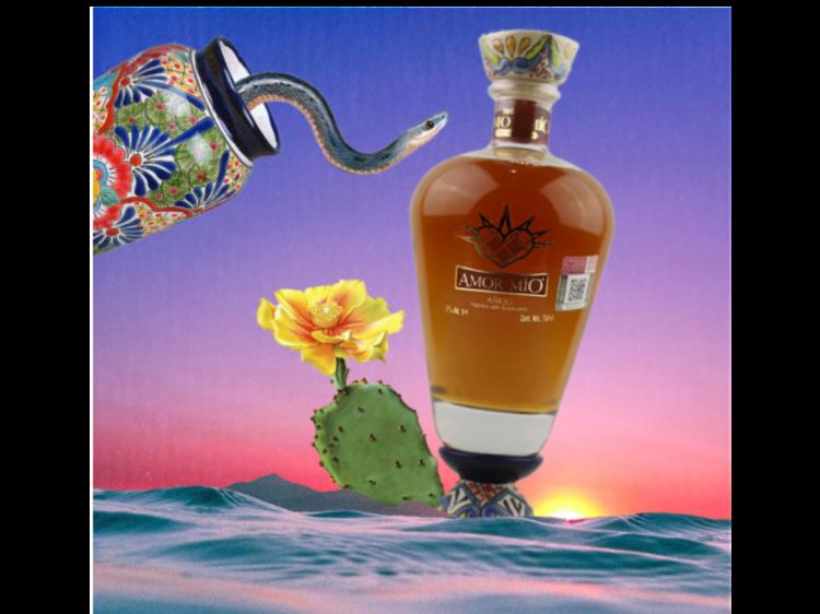 Tequila Amor Mio añejo con helados y crepas