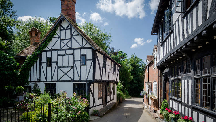 Two white tudor style houses either side of a concrete path, surrounded by greenery