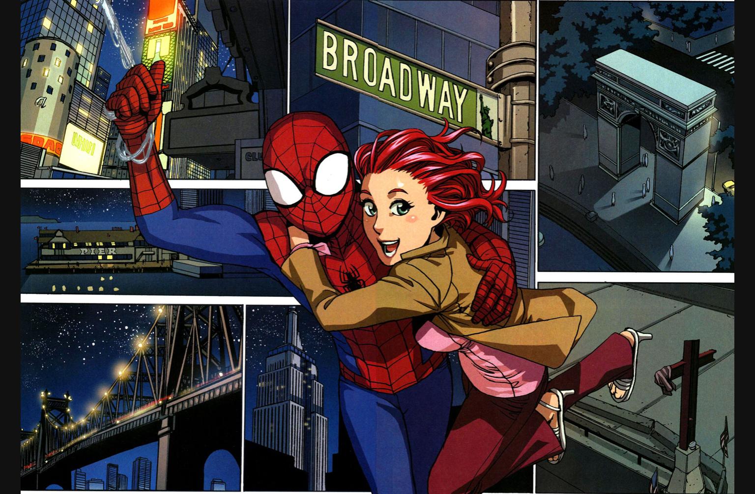 Ilustración de spiderman y mary jane de adolescentes