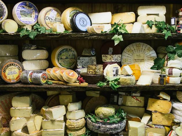 Shelves and shelves of cheeses