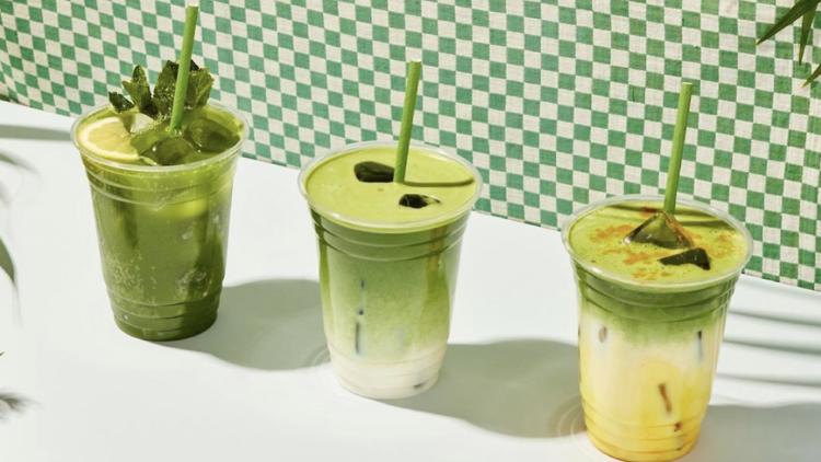 three green matcha drinks