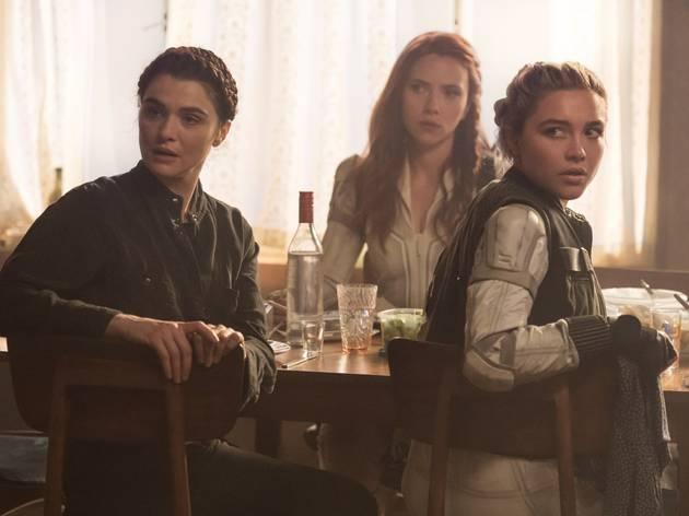 Florence Pugh, Scarlett Johansson and Rachel Weisz in Black Widow 2021