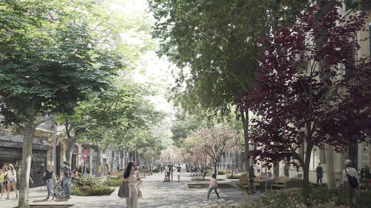 Simulación de calle de eje verde del Ensanche
