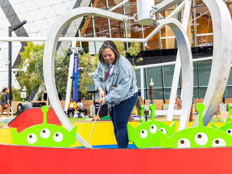 Putt at this Pixar-themed mini-golf course