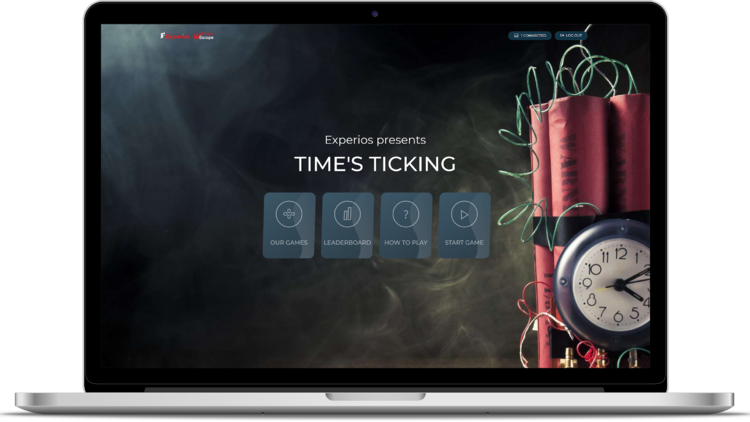 A laptop showing the Time's Ticking virtual escape room