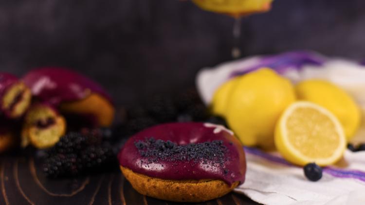 Purple doughnut with some lemons