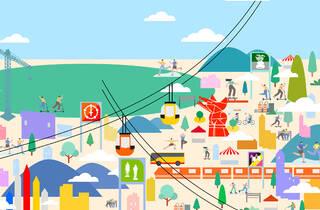 Ilustración con elementos alusivos a la periferia de la Ciudad de México