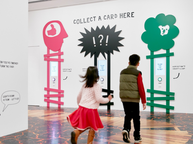 Installation view of Plans for The Planet: Olaf Breuning for Kids from 2 5 June – 3 October 2021 at NGV International, Melbourne.