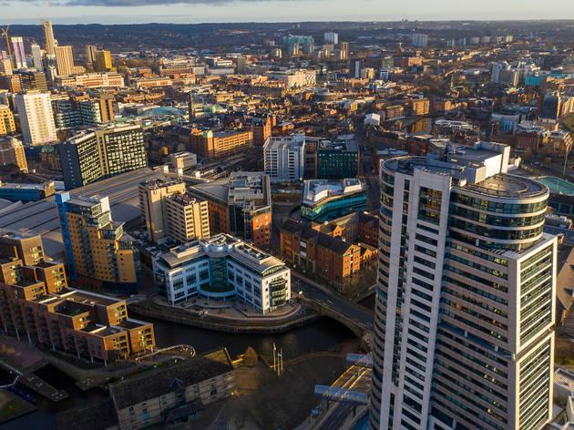 Aerial photo of Leeds city centre