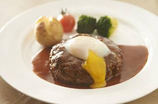 Hamburg steak with gravy and Japanese half-boiled egg