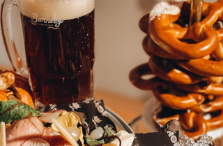 Beer and food from the German winter markets.
