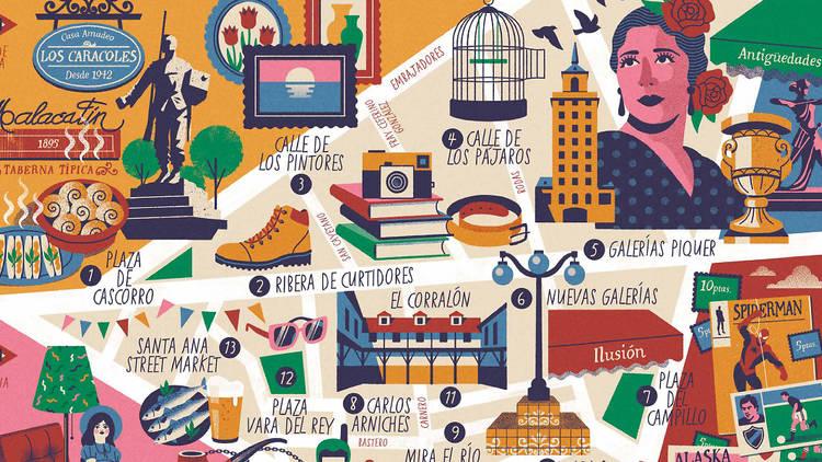 Mapa ilustrado El Rastro