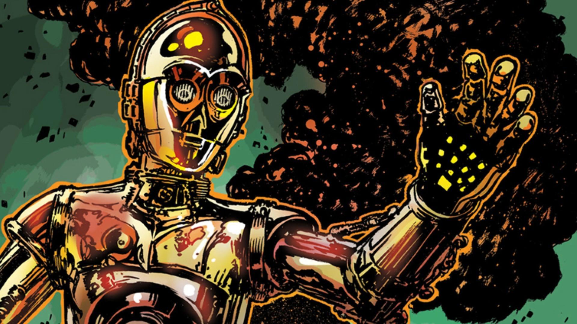 Ilustración en comic del personaje de Star Wars C3PO