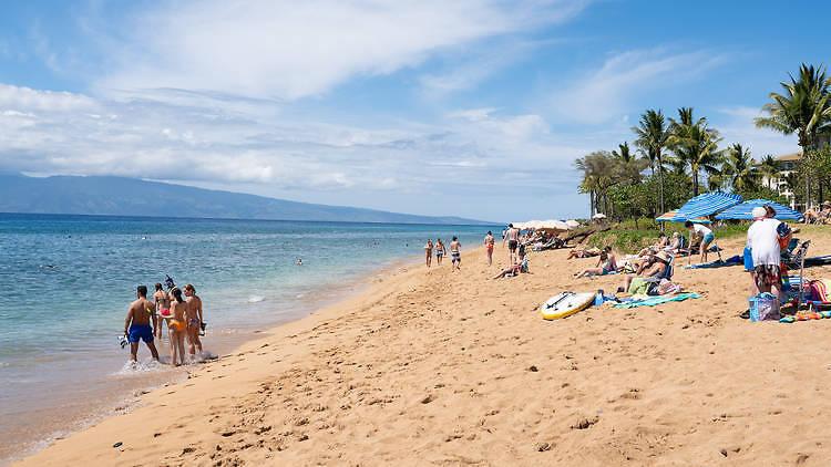 Maui beach with people