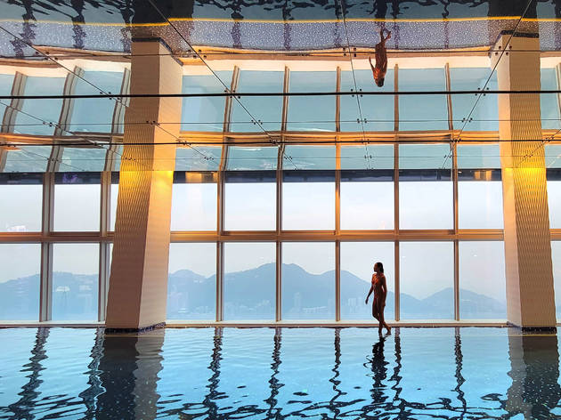 The Ritz Carlton's indoor infinity swimming pool