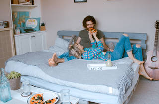 Couple having date night at home