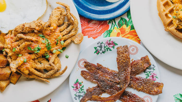 Elizabeth's Praline Bacon, Duck Hash Waffle, Fried Softshell Crab, Stuffed M