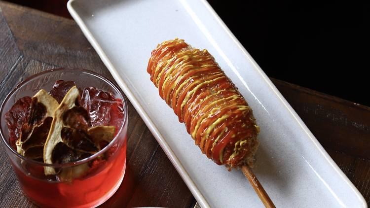 cocktail and corndog