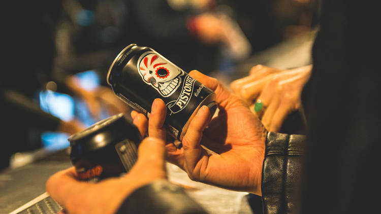 cans in hands
