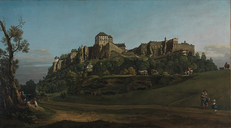 : 'The Fortress of Königstein from the North', Bernardo Bellotto, about 1756-8 © The National Gallery, London