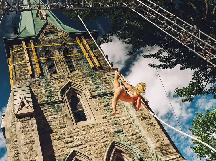 This Montreal church is hosting outdoor circus cabaret picnics with a bar all summer