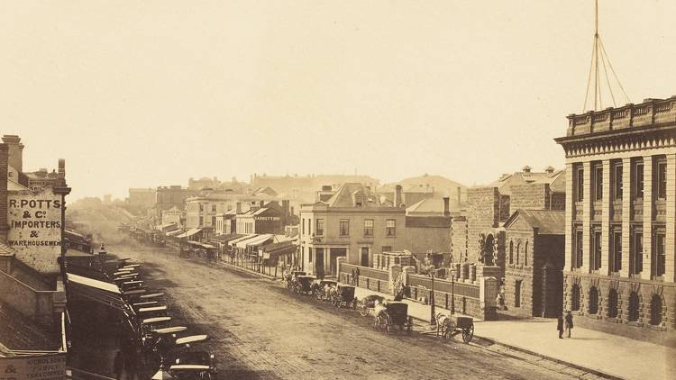 Swanston Street in 1858