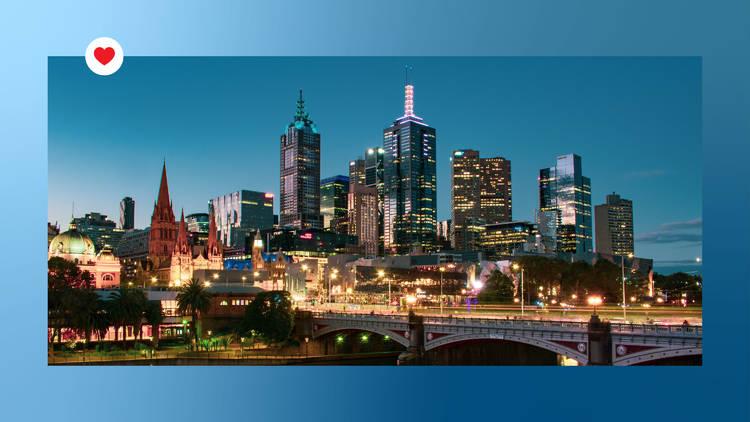 Melbourne skyline heart banner