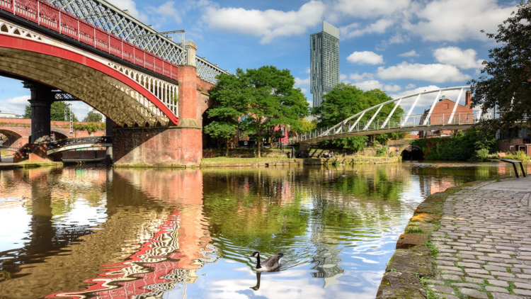 A stone path by the side of canal waters with an old and a modern bridge. A goose is in the water and in the distance a skyscraper.