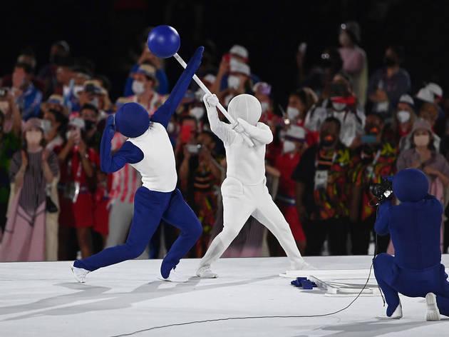 Tokyo Olympics Opening Ceremony, blue emoji man