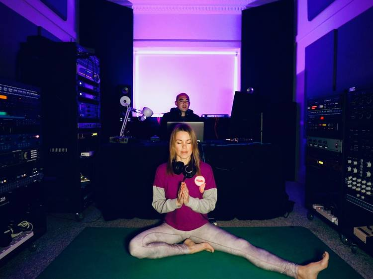 Get bendy to hypnotic bangers with this virtual yoga party