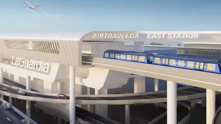 A rendering of the LGA AirTrain