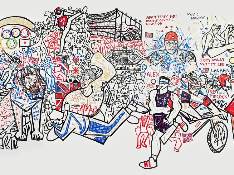 Team GB's wins are celebrated in these sprawling wall murals