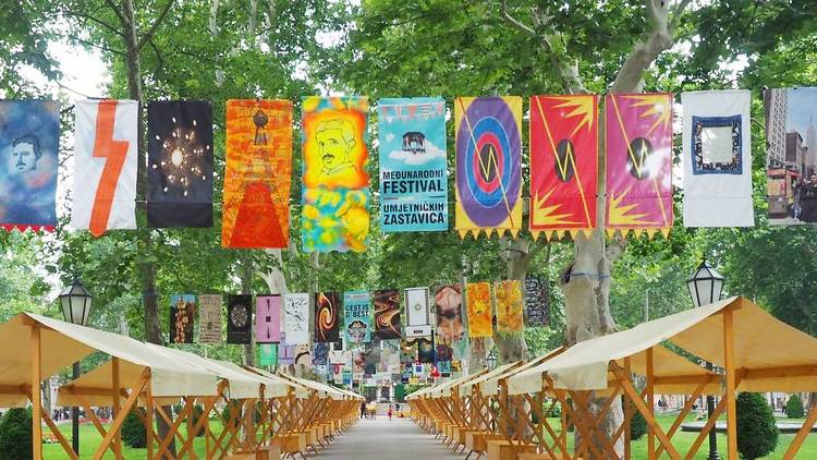 flag, art, zagreb, festival, umjetničkih, zastavica
