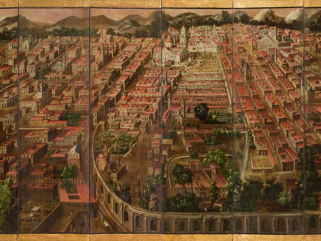 Biombo de la conquista de México y La muy noble y leal ciudad de México (Museo del Prado)