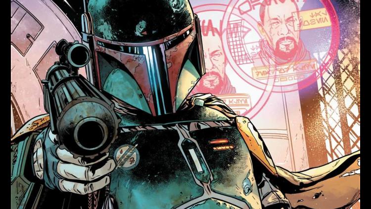 Ilustración de Boba Fett mandaloriano de Star Wars en comic