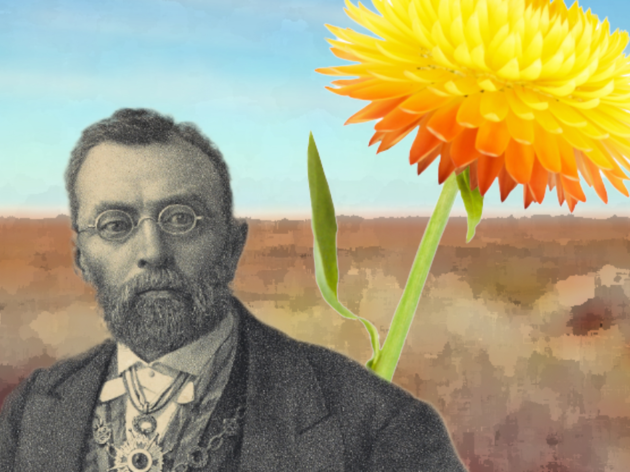 A painting of Baron Ferdinand von Mueller with a flower in the background.