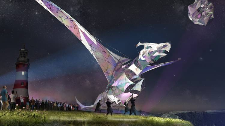 Rendered image of The Hatchling dragon puppet in Plymouth