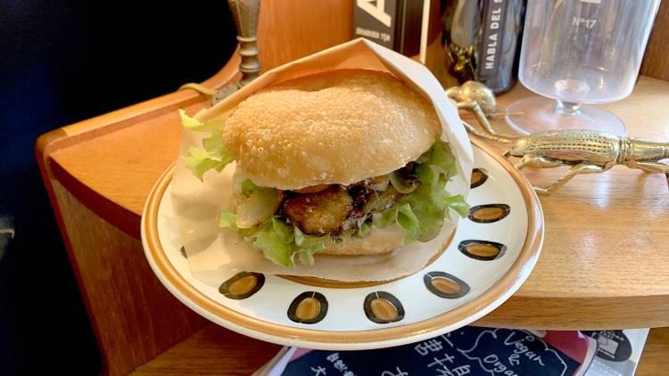 Vegan teriyaki chicken, doughnut sandwich, Hatena