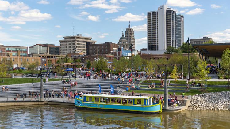 Fort Wayne riverfront and boat