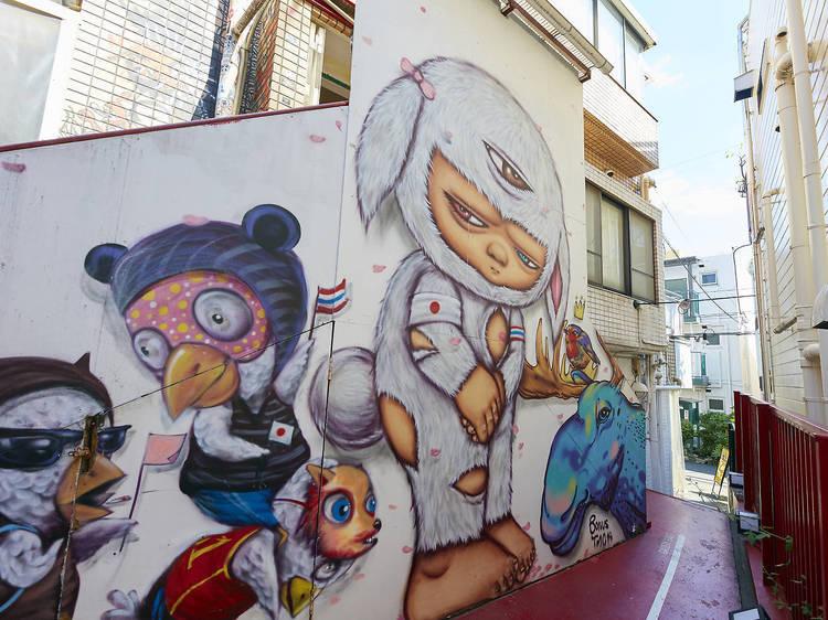 ストリートアートを探す。